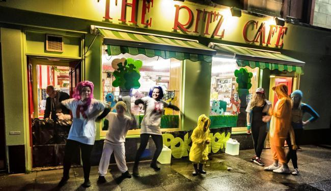 Shops and businesses dress up for the big occasion on Saturday evening
