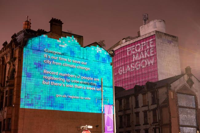 Projections in UK cities urging people to register to vote
