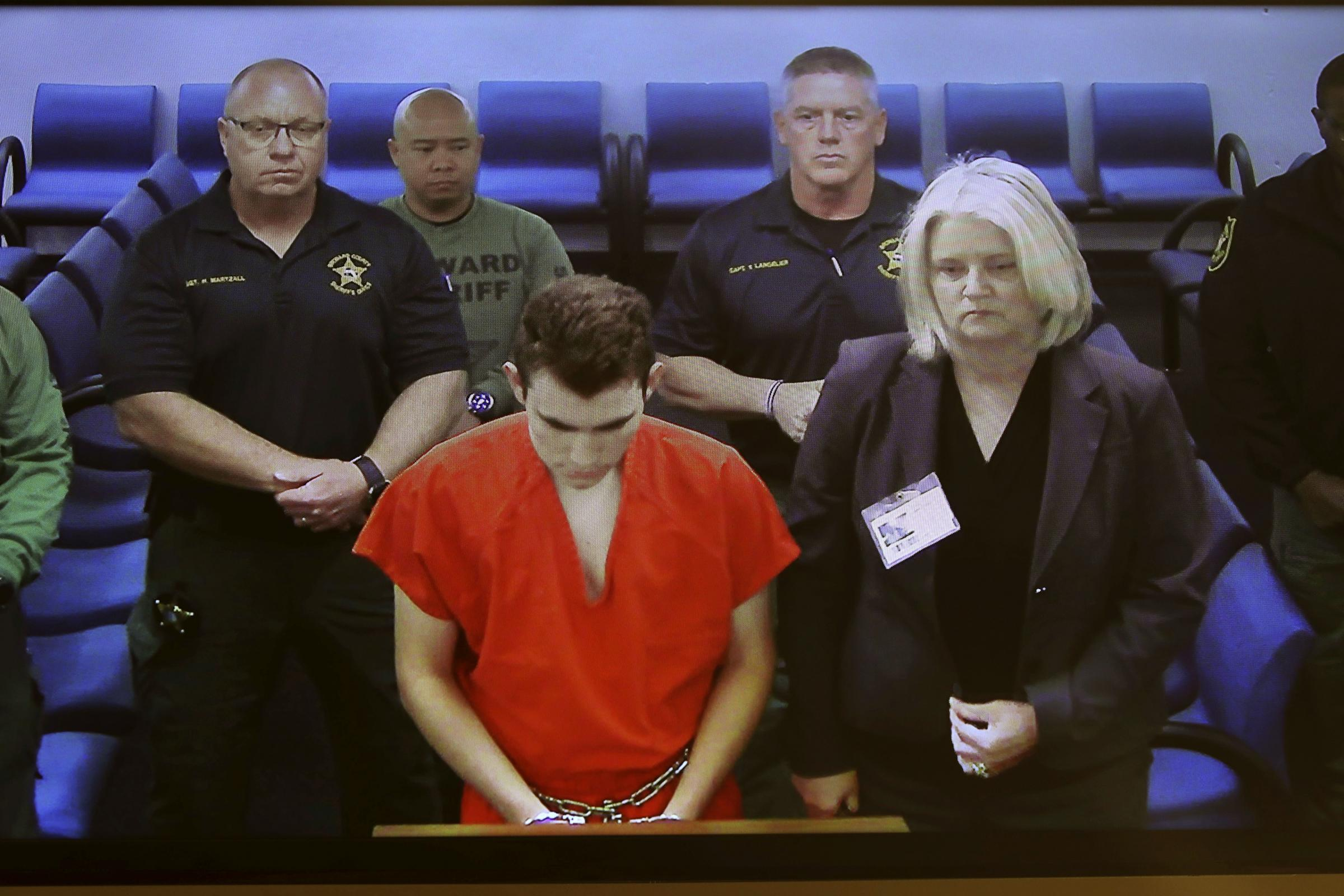 Nikolas Cruz in court via video conference from jail for his first appearance after the shooting (Broward County Court/South Florida Sun-Sentinel via AP)