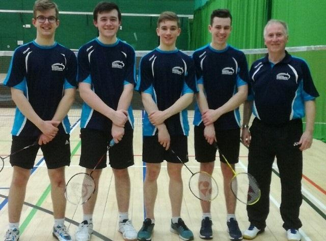 Largs BB Badminon team ... Luke Caddenhead, Johnathan Welsh, Euan Randall, Lewis Robinson, and John Kent ( coach).